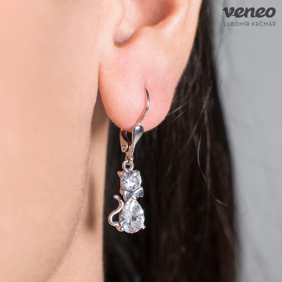 Veneo Kočka 3095 – náušnice s čirými zirkony, Materiál: Stříbro, ryzost 925/000 - N3095/kz0.kz0-pv