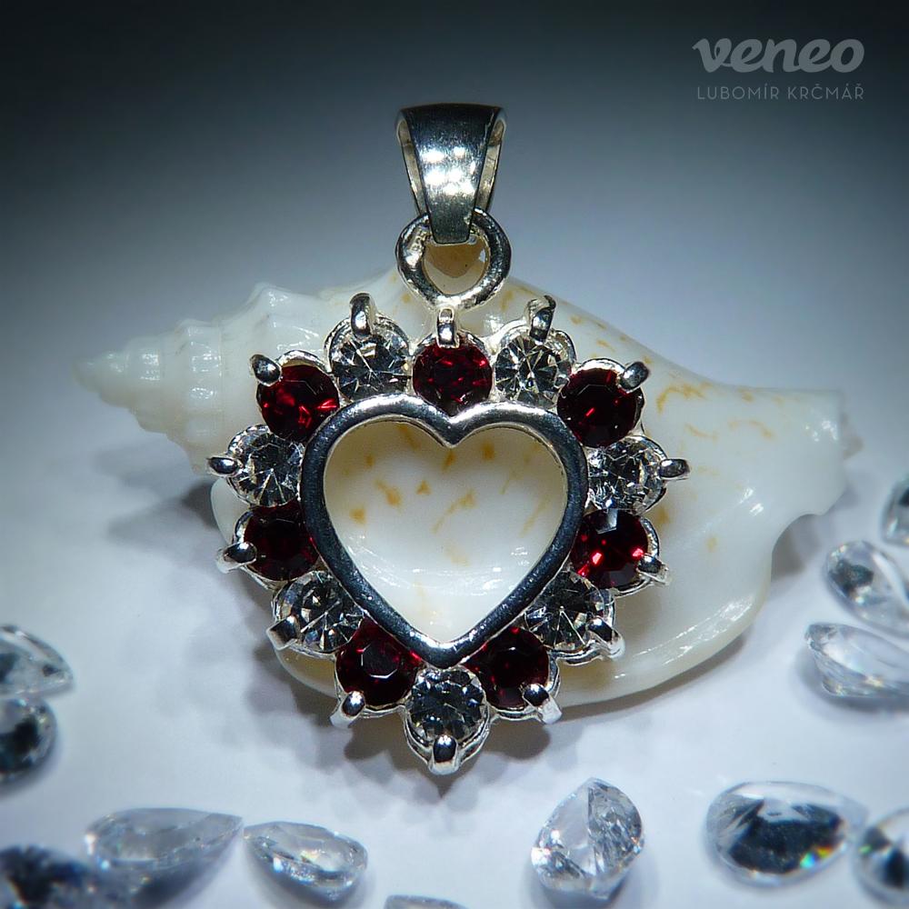 Veneo Srdce 3017 - přívěsek s rubíny a čirými zirkony , Materiál: Stříbro, ryzost 925/000 - Z3017/kz0.kz1