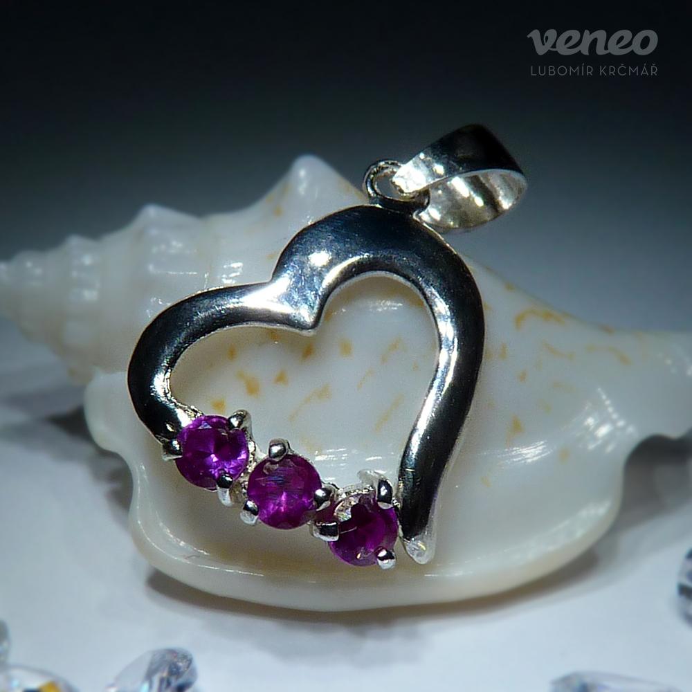 Veneo Srdíčko 3049 - přívěsek s rubíny , Materiál: Stříbro, ryzost 925/000 - Z3049/kz1