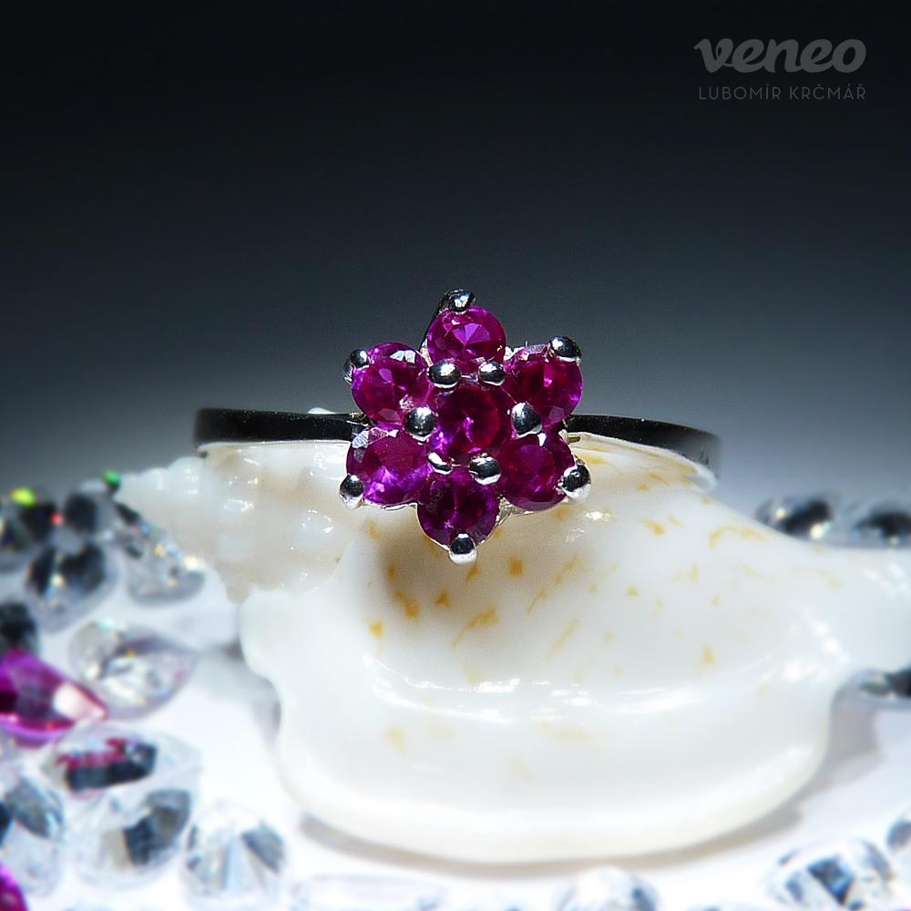 Veneo Astra – prsten s rubíny, Materiál: Stříbro, ryzost 925/000 - P3036/kz1.kz1