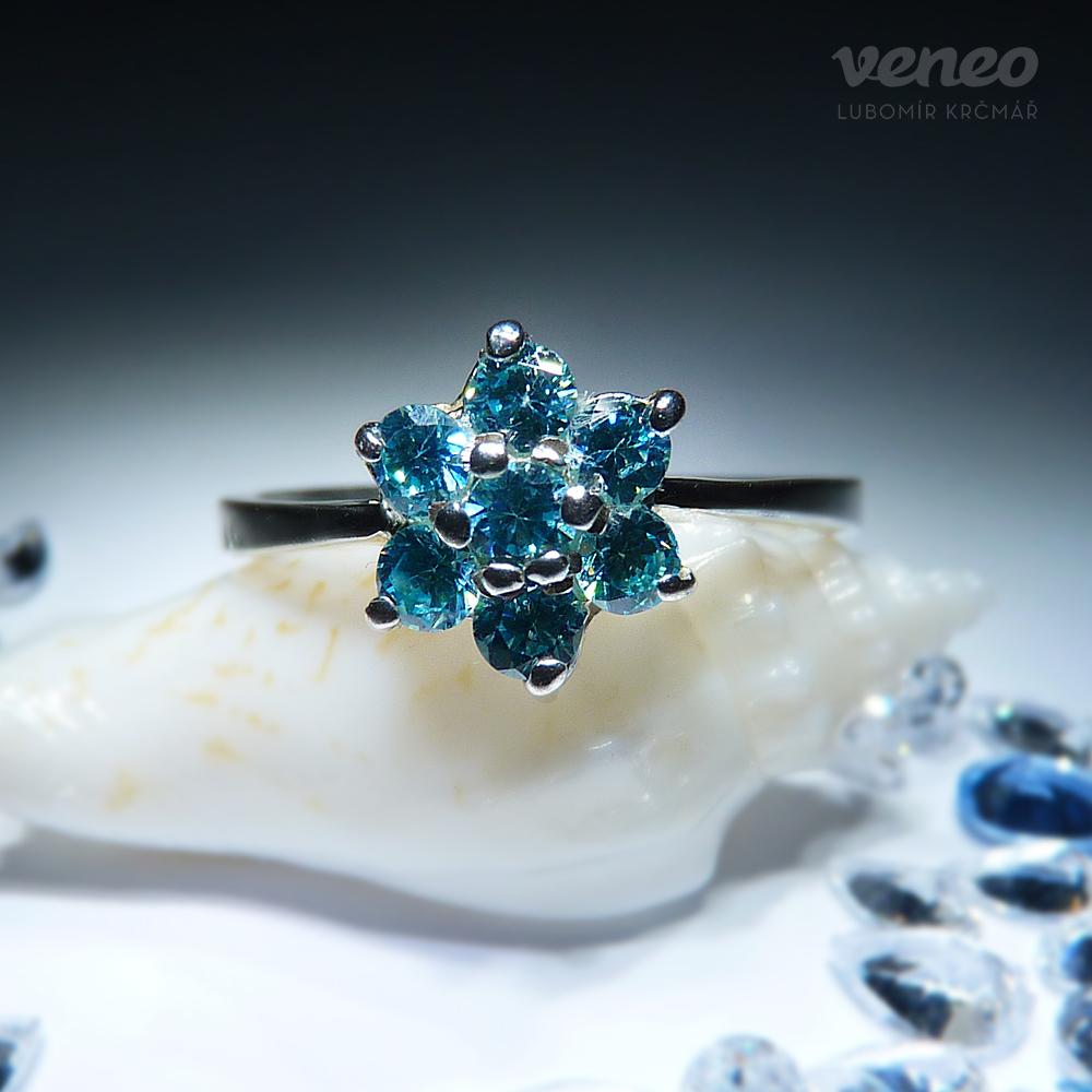 Veneo Astra – prsten s akvamaríny, Materiál: Stříbro, ryzost 925/000, Velikost: 40 - P3036/kz4.kz4