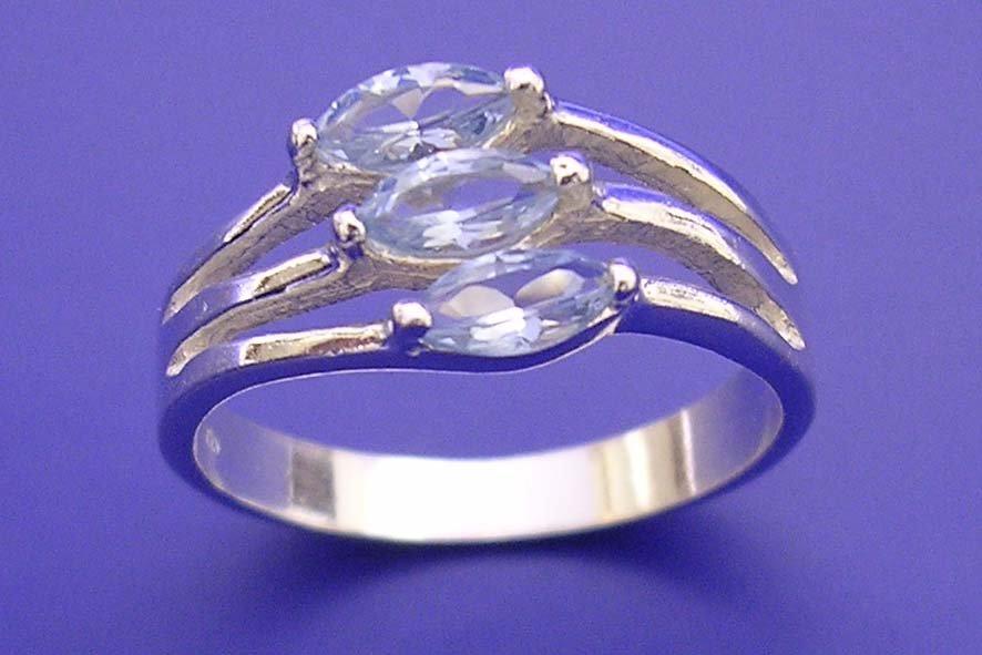 Veneo Clea - prsten s akvamaríny , Materiál: Stříbro, ryzost 925/000 - P3015/kz4