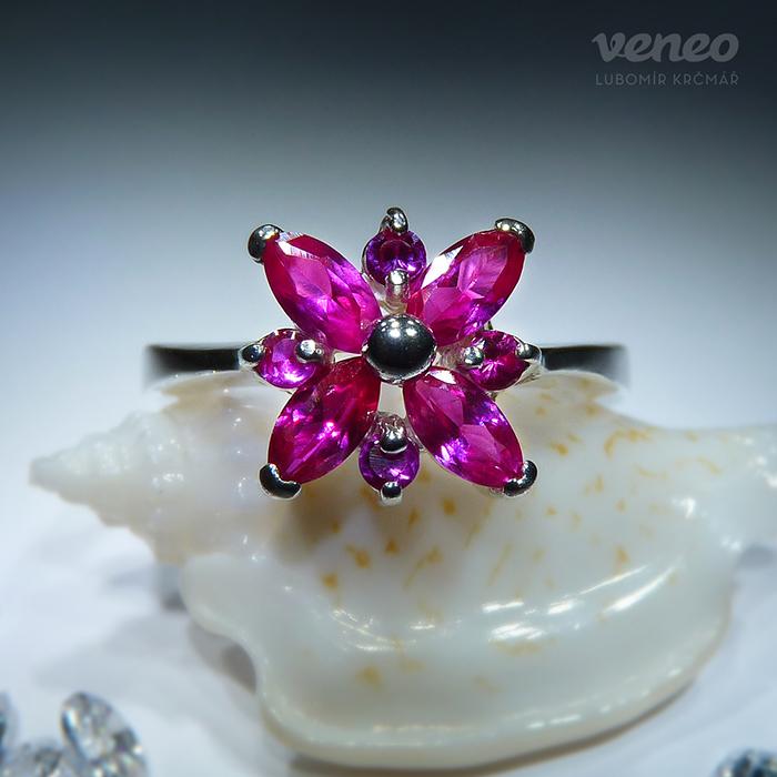 Veneo Andromeda - prsten s rubíny, Materiál: Stříbro, ryzost 925/000 - P3083/kz1.kz1