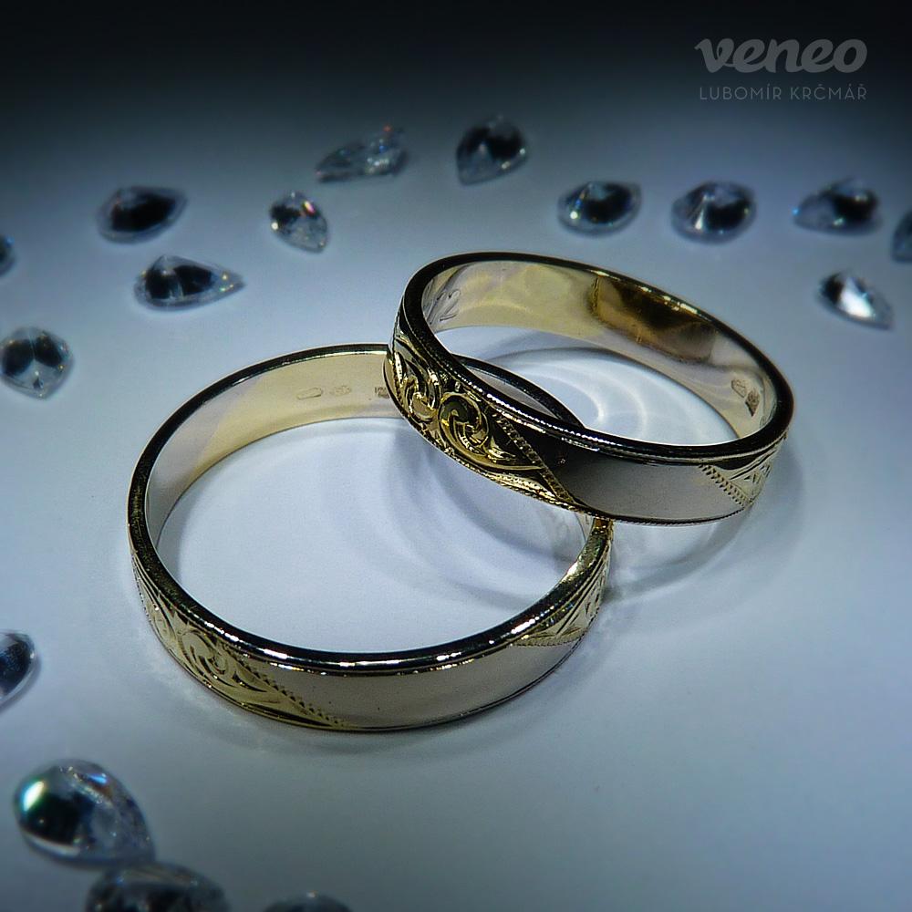 Veneo Snubní prstýnky z bílého či žlutého zlata , Materiál: Bílé zlato, ryzost 585/000 - SNUB003