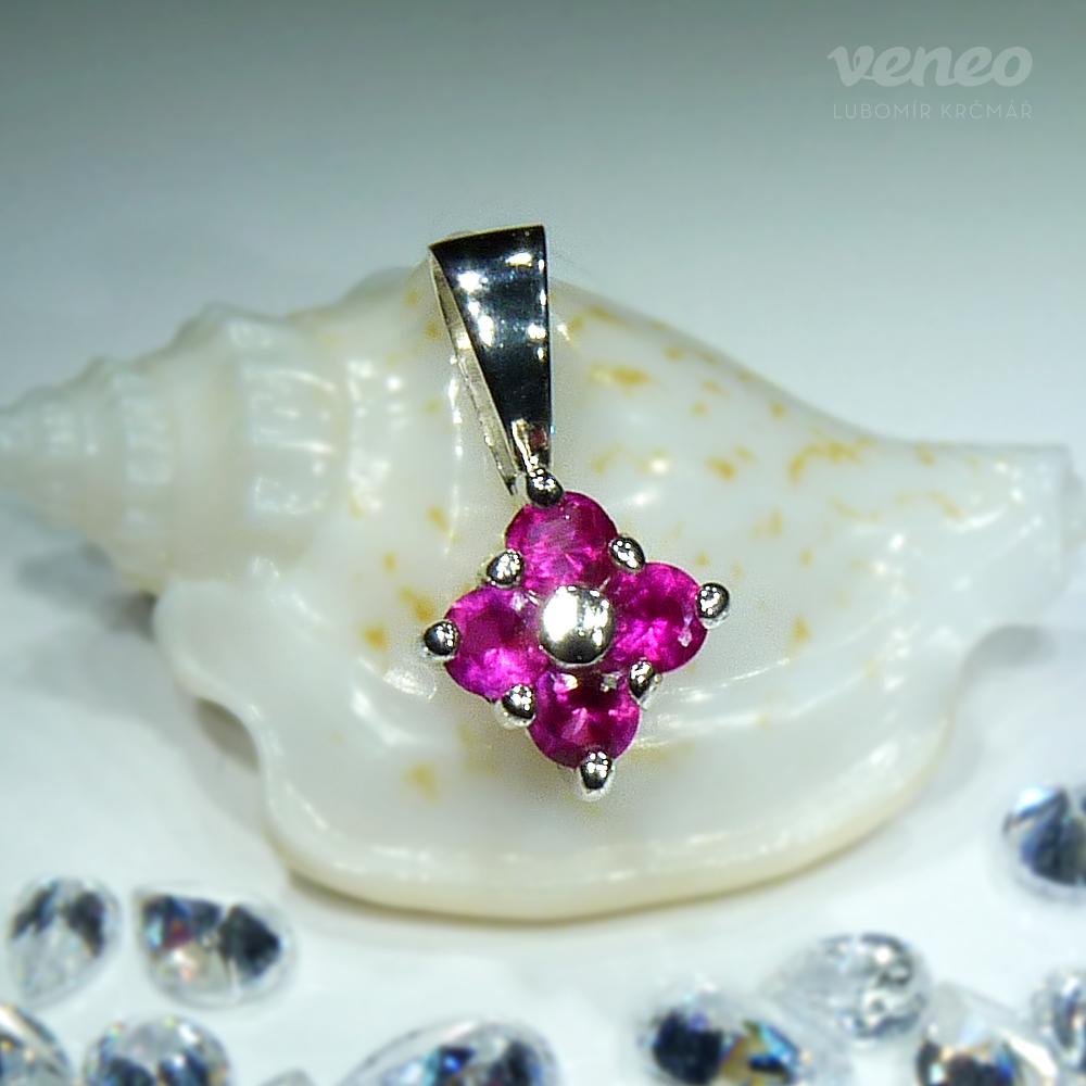 Veneo Viola - přívěsek s rubíny , Materiál: Stříbro, ryzost 925/000 - Z3042/kz1