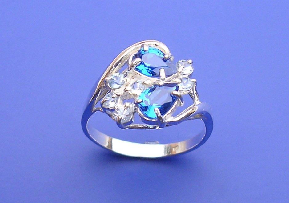 Veneo Carmen – prsten s akvamaríny a čirými zirkony, Materiál: Stříbro, ryzost 925/000 - P3044/kz4.kz0