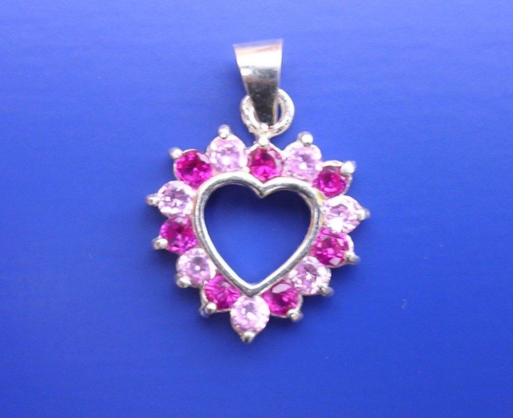 Veneo Srdce 3017 - přívěsek s rubíny a růžovými zirkony, Materiál: Stříbro, ryzost 925/000 - Z3017/kz1.kz2