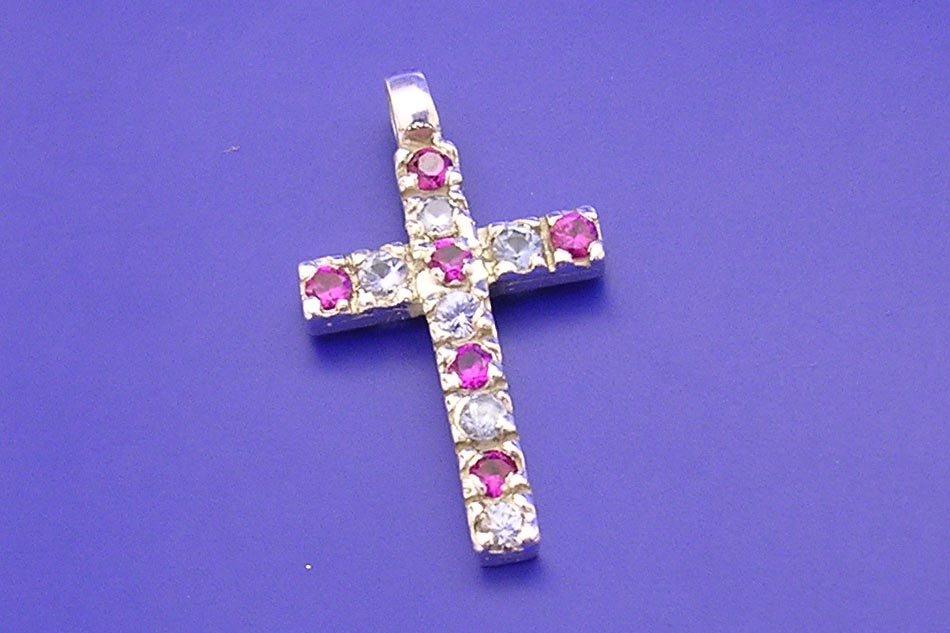 Veneo Kříž 3008 - přívěsek s rubíny a zirkony , Materiál: Stříbro, ryzost 925/000 - Z3008/kz0.kz1