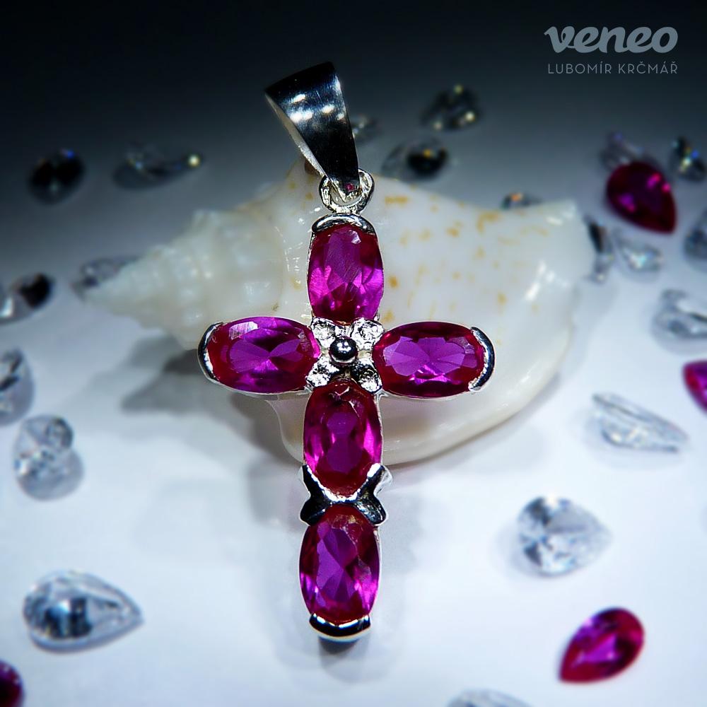 Veneo Kříž 3020 - přívěsek s rubíny , Materiál: Stříbro, ryzost 925/000 - Z3020/kz1