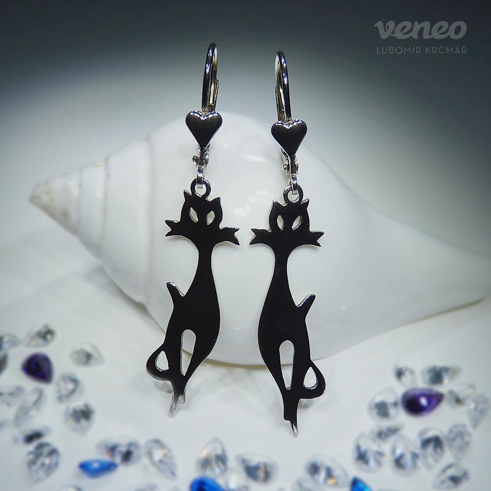 Veneo Kočka 3087 - náušnice s prořezávaným plastickým motivem , Materiál: Stříbro, ryzost 925/000 - N3087-pv
