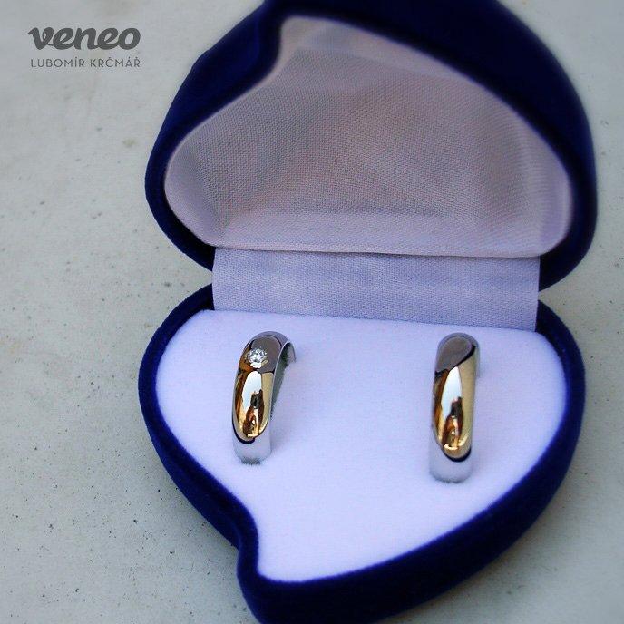 Veneo Snubní prstýnky - bílé zlato s diamantem , Materiál: Bílé zlato, ryzost 585/000, Velikost: 40 - SNUB001