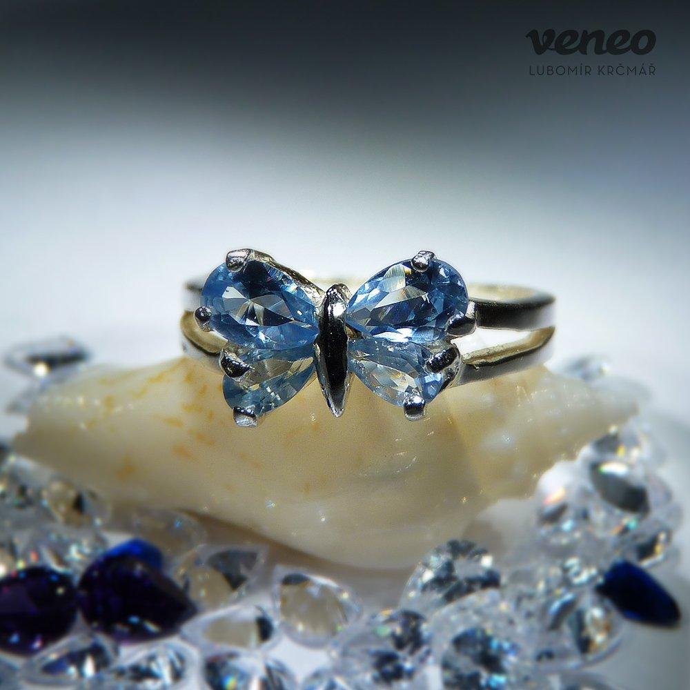 Veneo Motýlek – prsten s akvamaríny, Materiál: Stříbro, ryzost 925/000 - P3004/kz4.kz4