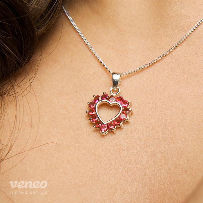Veneo Srdce 3017 - přívěsek s rubíny, Materiál: Stříbro, ryzost 925/000 - Z3017/kz1