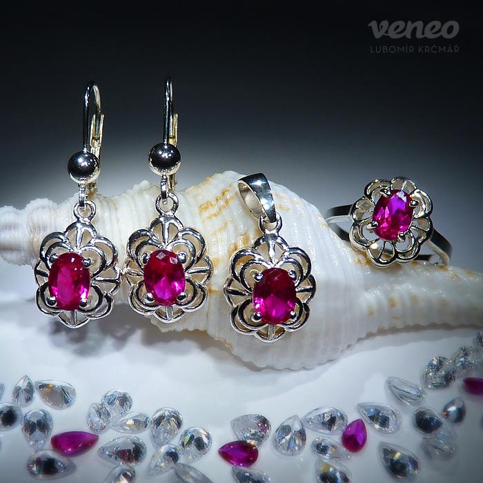 Veneo Baroko - sada šperků s rubíny, Materiál: Stříbro, ryzost 925/000, Velikost: 40 - S3085/kz1-pv